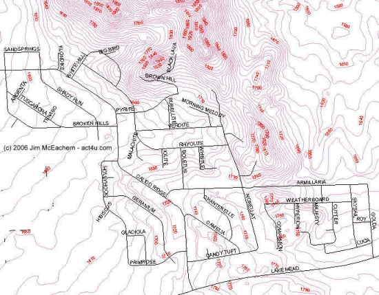 Calico Ridge elevation map