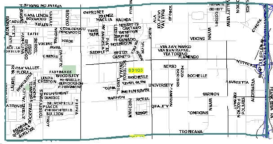 Las Vegas zip code 89103 map